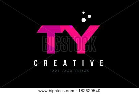 Ty T Y Letter Logo With Purple Low Poly Pink Triangles Concept