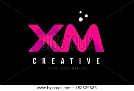 Xm X M Letter Logo With Purple Low Poly Pink Triangles Concept
