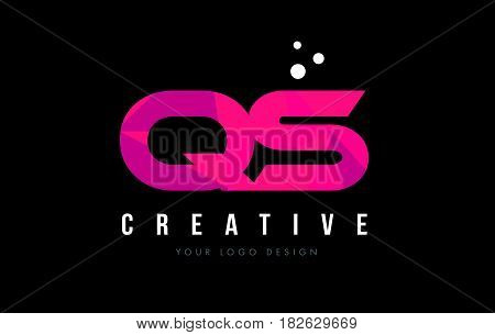 Qs Q S Letter Logo With Purple Low Poly Pink Triangles Concept