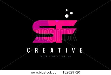 Sf S F Letter Logo With Purple Low Poly Pink Triangles Concept