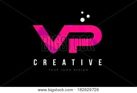 Vp V P Letter Logo With Purple Low Poly Pink Triangles Concept