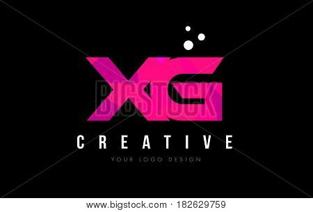 Xg X G Letter Logo With Purple Low Poly Pink Triangles Concept