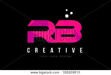 Rb R B Letter Logo With Purple Low Poly Pink Triangles Concept