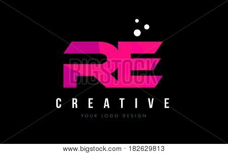 Re R E Letter Logo With Purple Low Poly Pink Triangles Concept