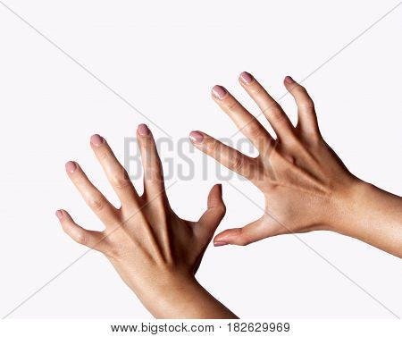aggressive female hands isolated on white background