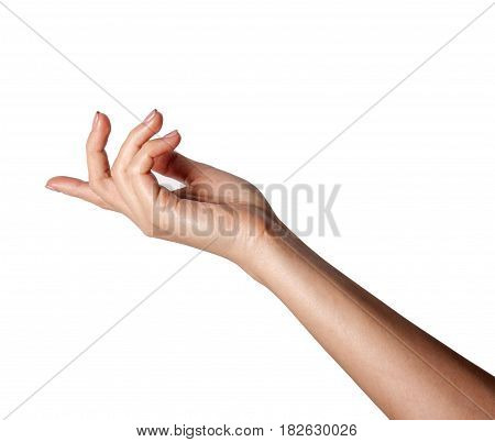 A female hand outstretched beckoning isolated on a white background.
