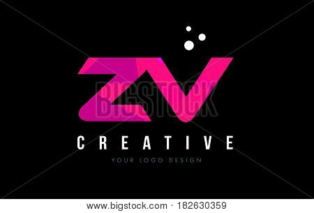 Zv Z V Letter Logo With Purple Low Poly Pink Triangles Concept