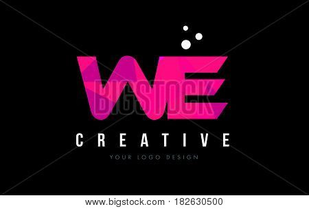 We W E Letter Logo With Purple Low Poly Pink Triangles Concept