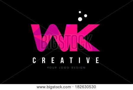 Wk W K Letter Logo With Purple Low Poly Pink Triangles Concept