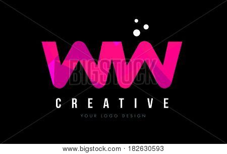 Ww W Letter Logo With Purple Low Poly Pink Triangles Concept