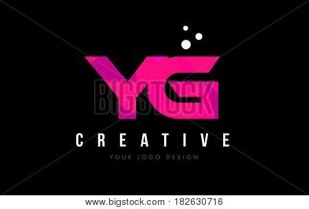 Yg Y G Letter Logo With Purple Low Poly Pink Triangles Concept
