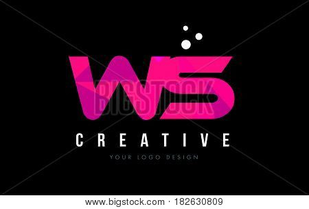 Ws W S Letter Logo With Purple Low Poly Pink Triangles Concept