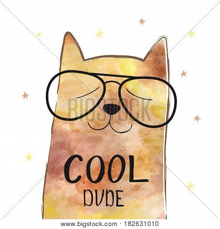 Vector illustration with funny cat in a glasses. Cute typography poster with lettering - cool dude. Hipster style design. Print on t-shirt