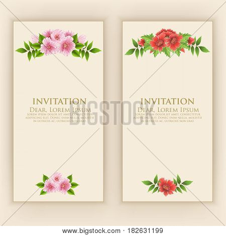 Wedding invitation card. Vector invitation card with elegant flower elements with text. Beautiful templates for invitation, gift or greeting card design.