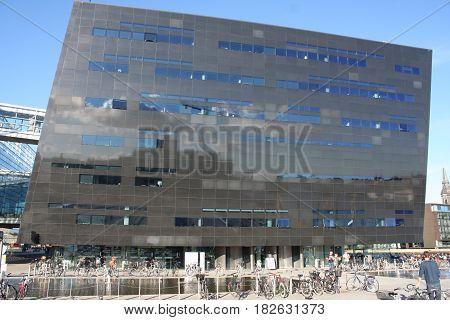 COPENHAGEN, DENMARK - AUGUST 16, 2016: The Black Diamond, The Copenhagen Royal Library (Det Kongelige Bibliotek) is the national library of Denmark in Copenhagen, Denmark on August 16, 2016.