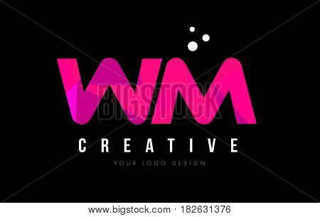 Wm W M Letter Logo With Purple Low Poly Pink Triangles Concept