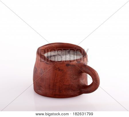 beer earthenware mug on whte background. authentic