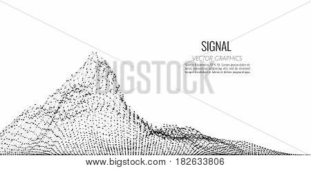 Vector abstract composition made of particles and wireframe. Concept design of digital landscape, data array, signal.