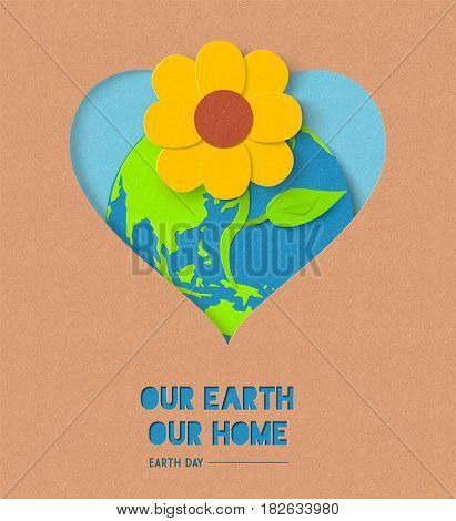 Earth day illustration for world environment care with paper cut flower and powerful quote. EPS10 vector.