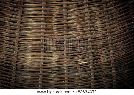 Old textured background of rattan straw basket