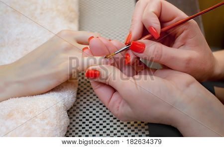Master of manicure makes nail extensions gel in the beauty salon. Professional care for hands.