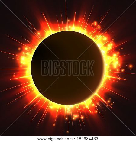 Abstract vector dark background with planet and eclipse of its star. Bright star red light shine from the edges of a planet. Sparkles of stars on the background.