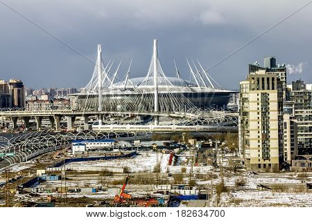 Saint-Petersburg .Russia.16 April 2017.The view on the stadium St. Petersburg arena in St. Petersburg.