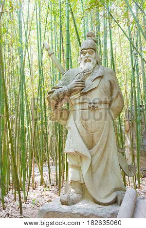 Sichuan, China - Mar 28 2015: Huang Zhong Statue At Zhaohua Ancient Town. A Famous Historic Site In