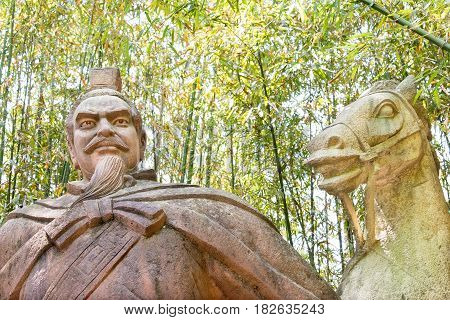 Sichuan, China - Mar 28 2015: Liu Bei Statue At Zhaohua Ancient Town. A Famous Historic Site In Guan