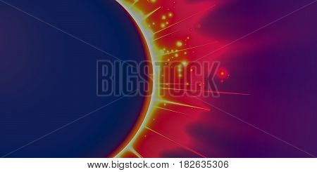 Abstract vector violet background with planet and eclipse of its star. Bright star light shine from the edges of a planet. Sparkles of stars on the background.