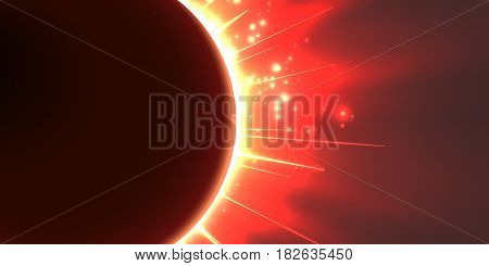 Abstract vector red background with planet and eclipse of its star. Bright star light shine from the edges of a planet. Sparkles of stars on the background.