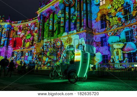 BERLIN - OCTOBER 08 2016: Festival of lights. The building of the Law Faculty of the Humboldt University in festive illumination.