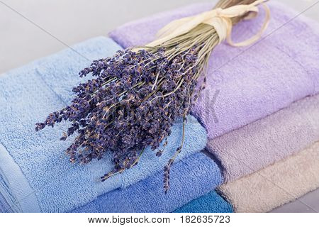 Stack of colorful bath towels with bouquet of lavender flowers on light background. Pastel colors cotton towels. Hygiene fabricspa and textile concept