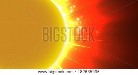 Abstract vector red background with planet and eclipse of its star. Bright star orange light shine from the edges of a planet. Sparkles of stars on the background.