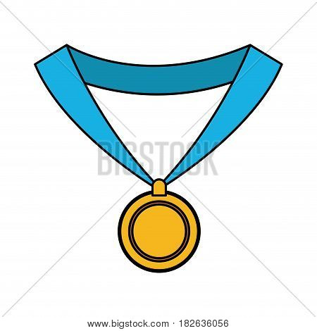 gold medal with blue ribbon icon image vector illustration design