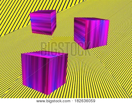 Abstract modern Isometric illustration background. Pink Cubes shape on yellow striped pattern.