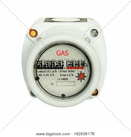 Gas meter isolated on white background taken closeup.Front view.