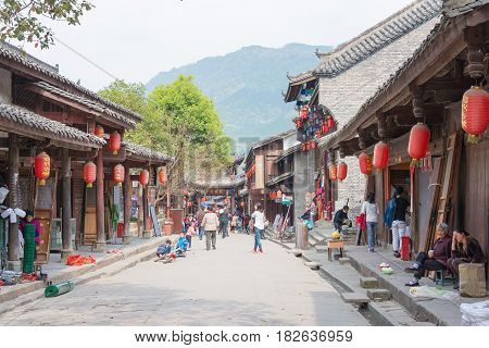 Sichuan, China - Mar 28 2015: Zhaohua Ancient Town. A Famous Historic Site In Guangyuan, Sichuan, Ch