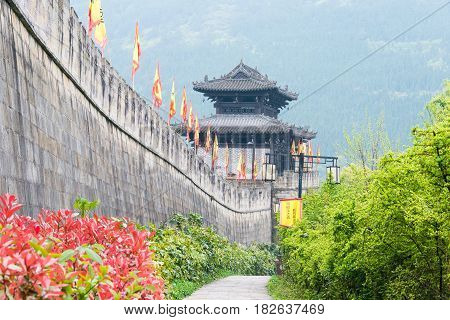 Sichuan, China - Mar 29 2015: Zhaohua Ancient Town. A Famous Historic Site In Guangyuan, Sichuan, Ch