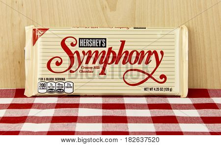 Spencer Wisconsin April 20 2017 Hershey's Symphony Candy Bar Hershey's is one of the largest chocolate producers in North America