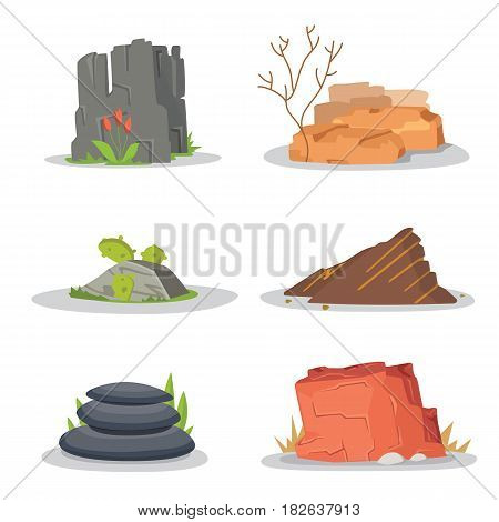 Rocks and stones single or piled for damage and rubble for game art architecture design. boulder vector