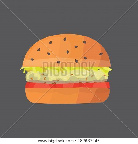 Burger cartoon fast food . cheeseburger or hamburger vector illustration. Fat food