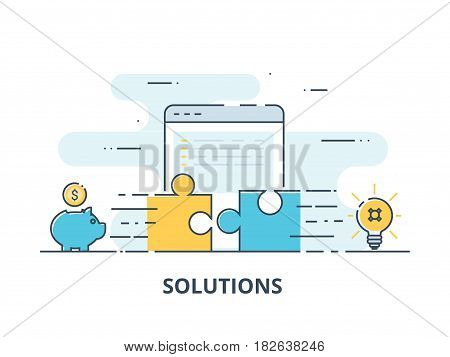 Business solutions, success and strategy concept. Businessman hand connecting jigsaw puzzle. Modern flat color line designed concept for solutions. Vector Illustration