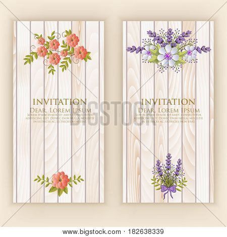 Wedding invitation card. Vector invitation card with elegant flower elements with text on wood background. Beautiful templates for invitation, gift or greeting card design.