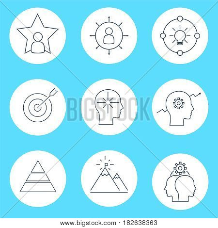 Set of vector icon graphics related to business management, strategy, career progress and business process