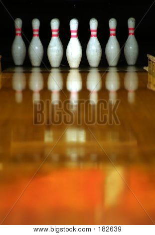 bowling pins ready for action. poster
