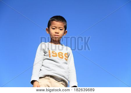 Japanese Boy Under The Blue Sky (first Grade At Elementary School)