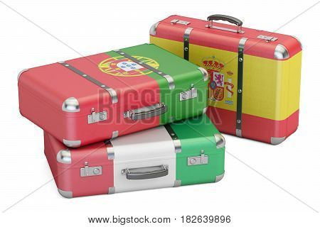 Travel around Europe concept suitcases with flags of Spain Portugal and Italy. 3D rendering