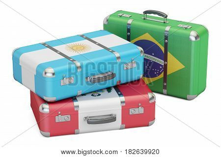 Travel around South America concept suitcases with flags of Brazil Argentina and Peru. 3D rendering