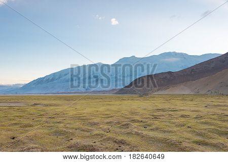 Xinjiang, China - May 21 2015: Morning View At Karakul Lake. A Famous Landscape On The Karakoram Hig
